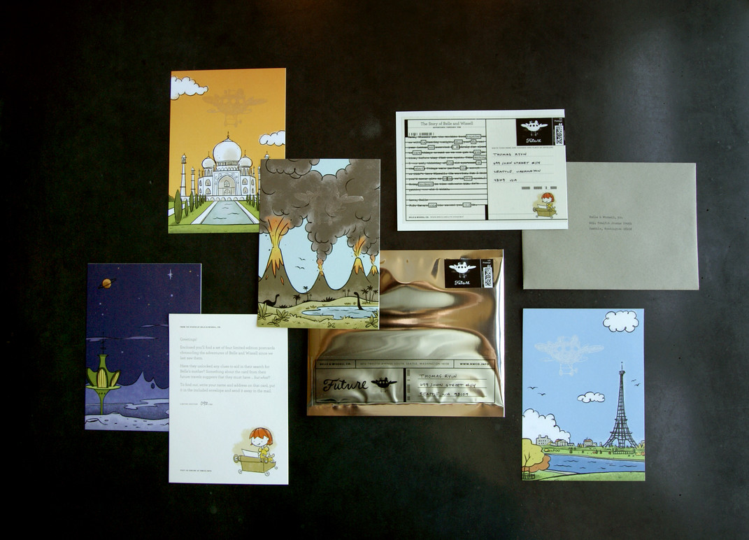 The full set of postcards.