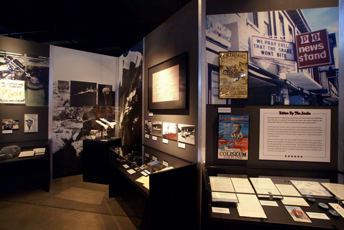 Section of the exhibition devoted to the famed Snake River Canyon jump.