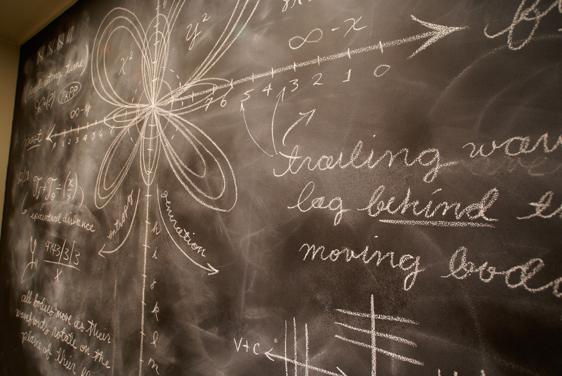 Illustrated chalkboard walls in the studio.