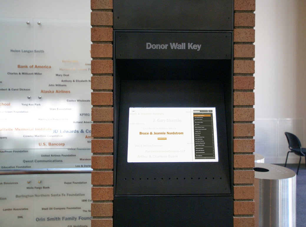 Donor wall kiosk.