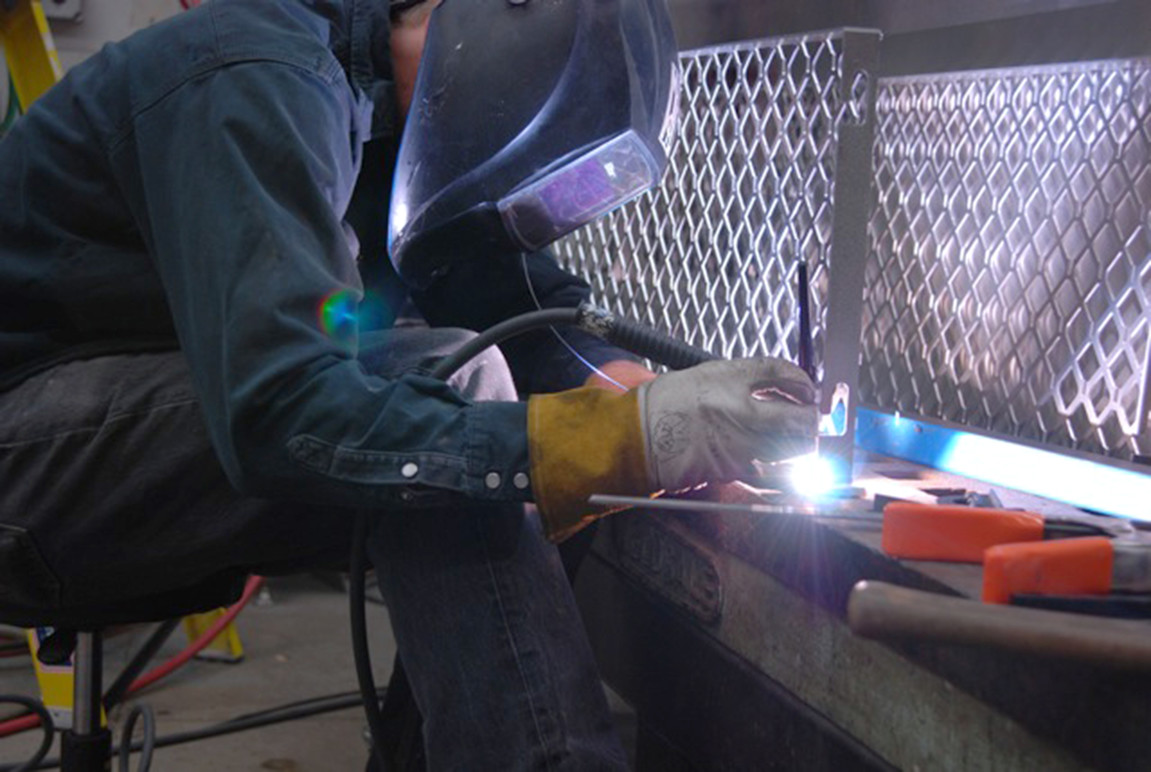 The mesh framework being welded.