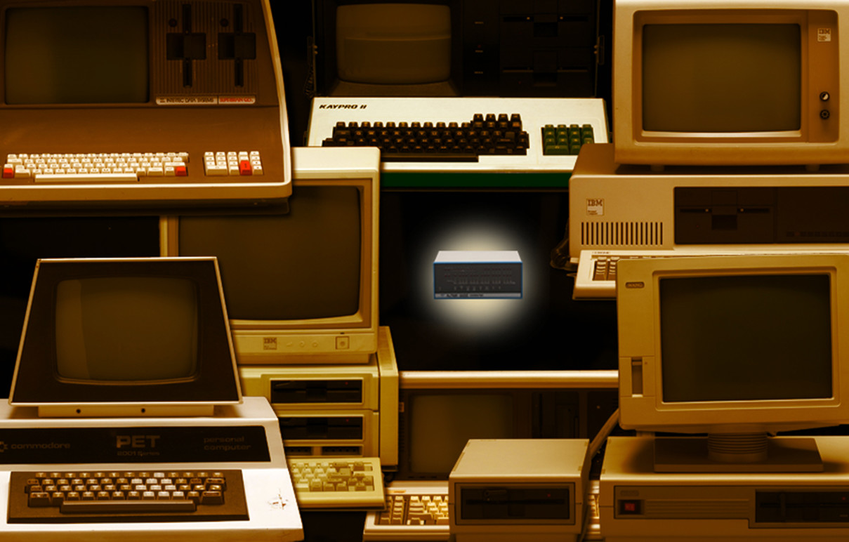 An array of computer artifacts.