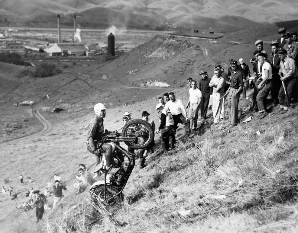 Archival image of a hill climber riding up a steep hill. Image courtesy of the Harley-Davidson Archives.