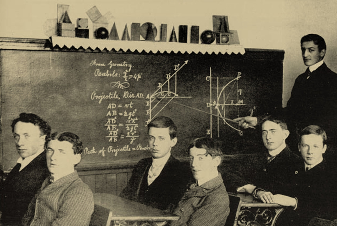 Students pose during a mathematics lecture.