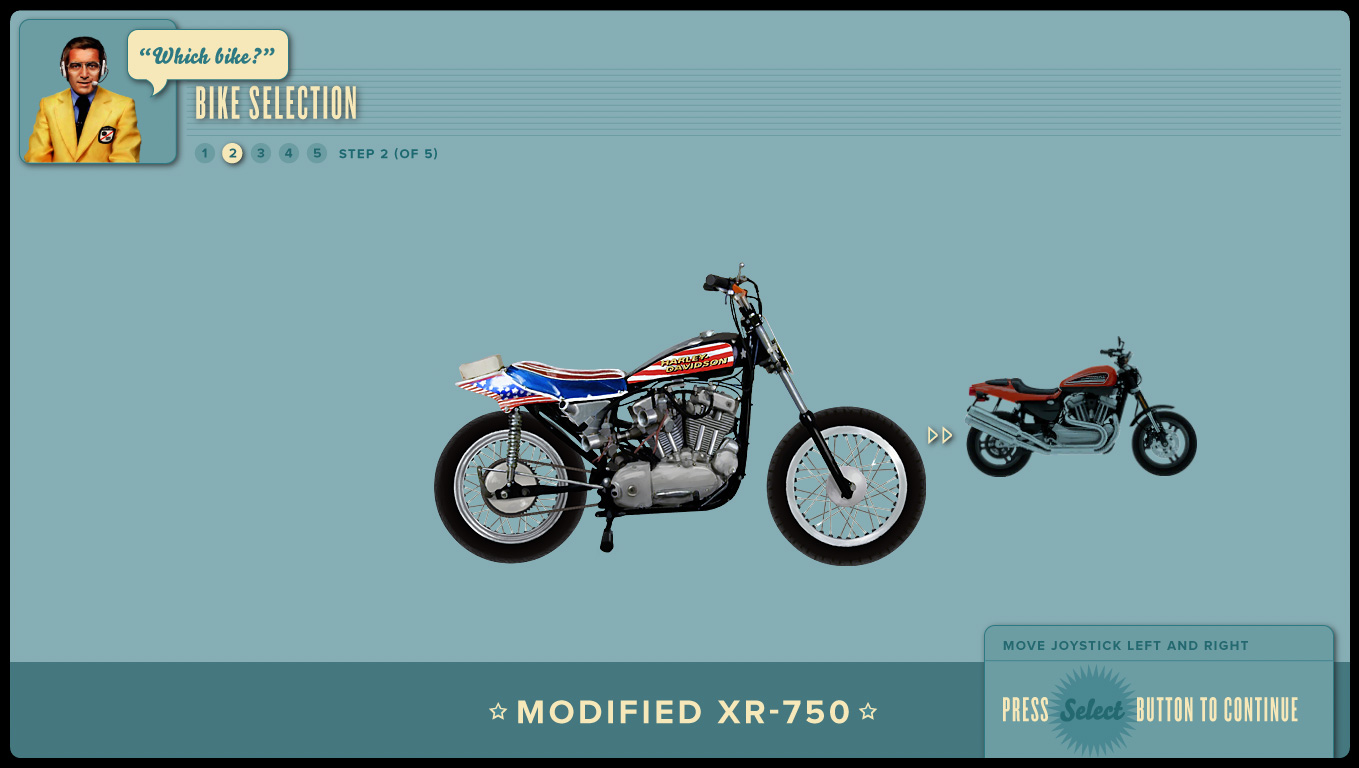 Bike selection screen.