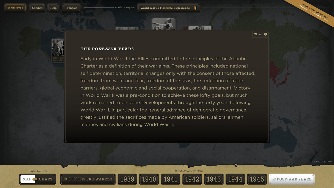 Informational overlay about the Post-War Years.