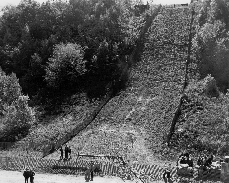 Archival image of a hill climb. Image courtesy of the Harley-Davidson Archives.