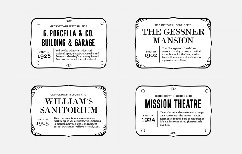 Belle & Wissell experimented with various stylistic approaches to the Georgetown Placards.