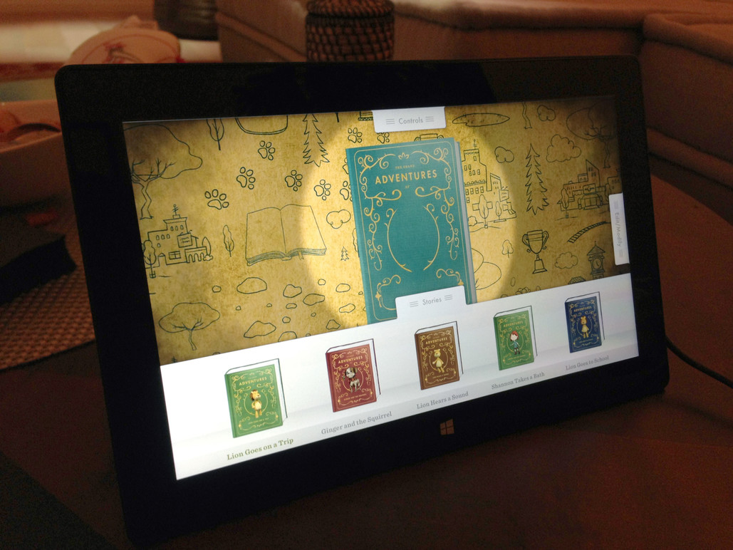 The tablet interface used to collaborate on the story.