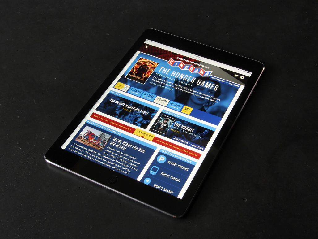 Tablet homepage.