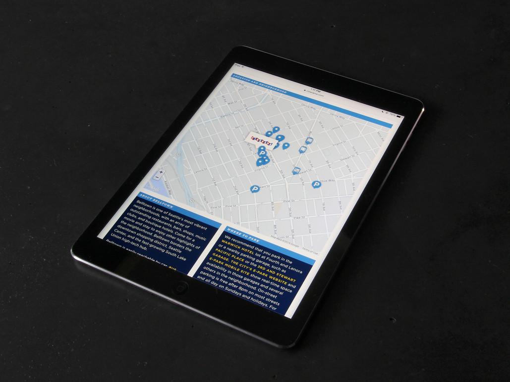 Tablet neighborhood map.
