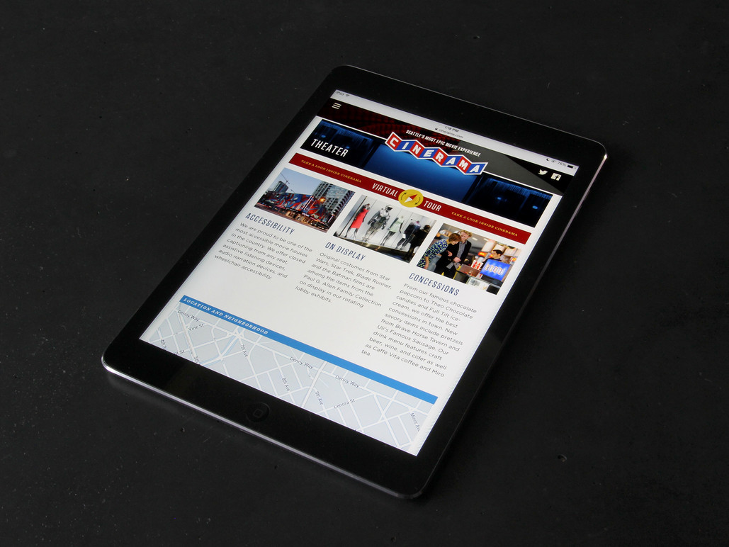 Tablet theater page.