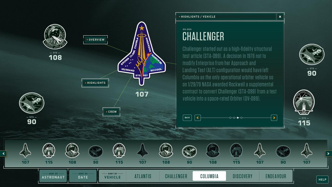 Missions database vehicle highlights.