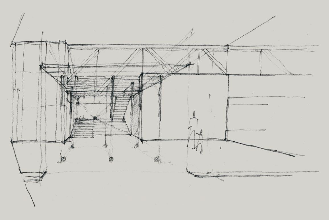 Conceptual drawing of Oxbow's event and installation space