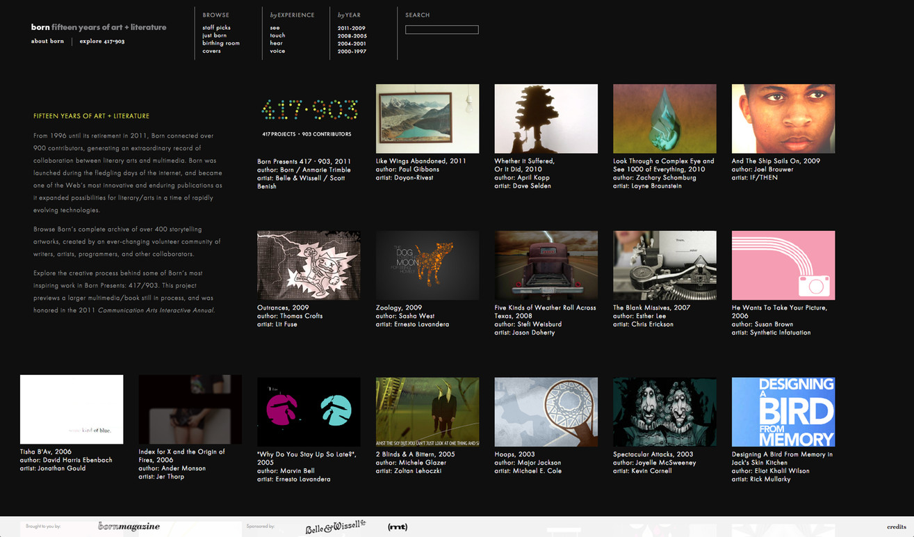 Homepage featuring all 417 projects.