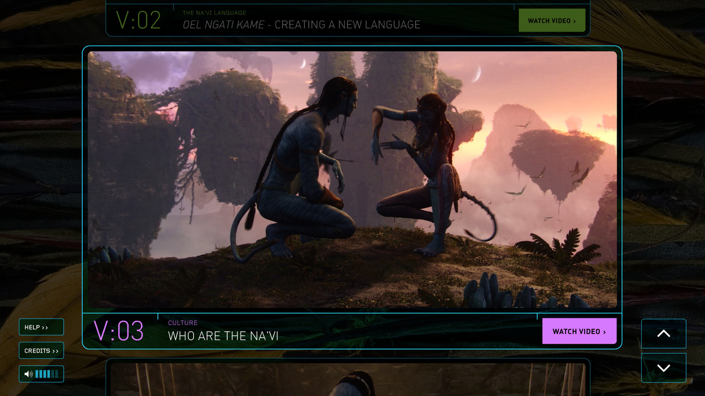 Na'vi cultural interactive selection screen.
