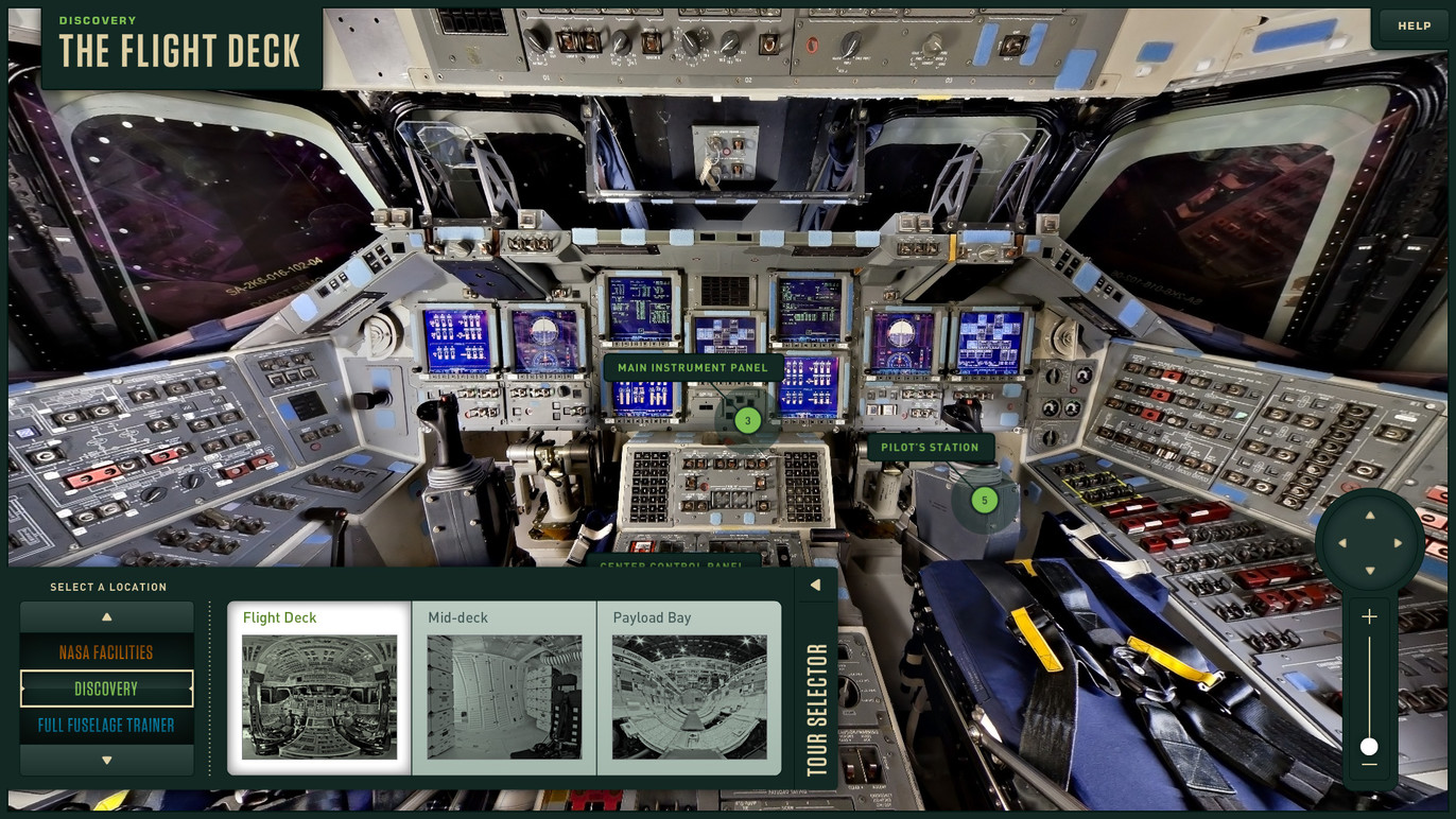 The user can select from a number of virtual tours, including the Discovery flight deck.